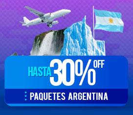 Hasta 30% OFF en Paquetes a Argentina
